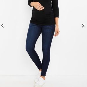 AG Blue denim stretchy maternity skinny jeans high